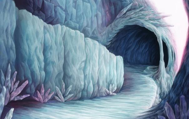 Фото обои холод, горы, лёд, арт, дорожка, льдины, кристаллы