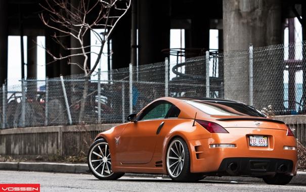 Фото обои оранжевый, сетка, тюнинг, забор, Nissan, ниссан, 350Z