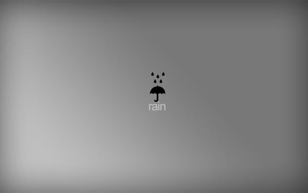 Фото обои капли, серый, фон, дождь, обои, минимализм, зонт