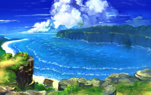 Фото обои море, зелень, облака, пейзаж, берег, бухта, арт