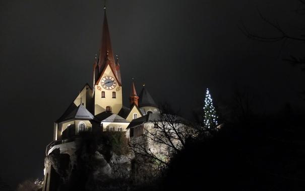 Фото обои Night, Austria, Church, Rankweil