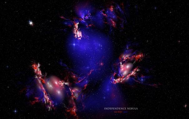 Фото обои туманность, independence nebula, свет, бесконечность, stars