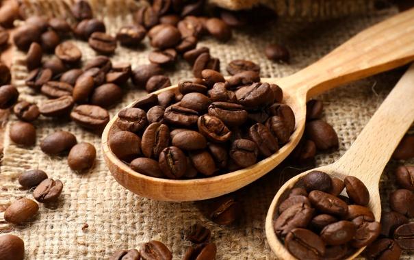 Фото обои кофе, зерна, beans, coffee, spoon