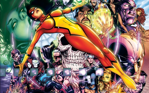 Фото обои железный человек, персонажи, костюмы, тор, капитан америка, человек паук, spider woman
