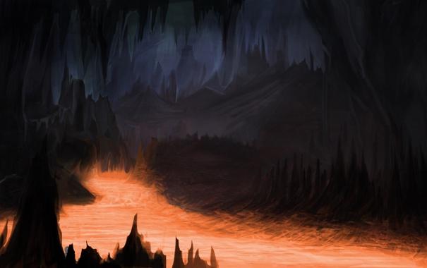 Фото обои темно, арт, лава, пещера, мрачно