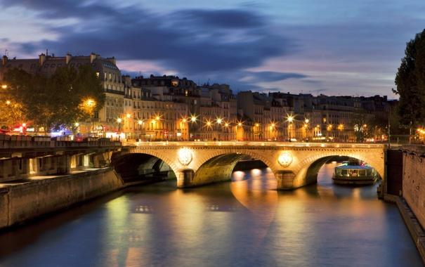 Фото обои город, река, Франция, Париж, дома, France, мост.