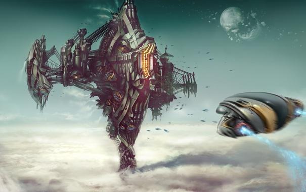 Фото обои город, корабль, Big City in the sky