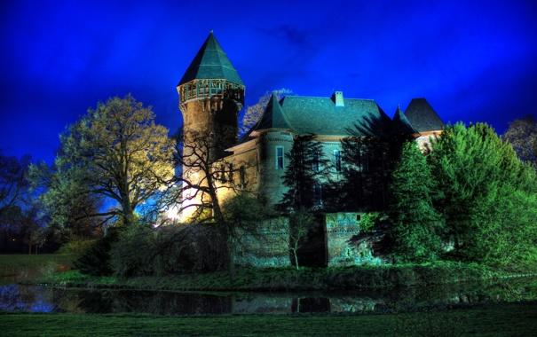 Фото обои небо, деревья, ночь, замок, башня, Германия, krefeld