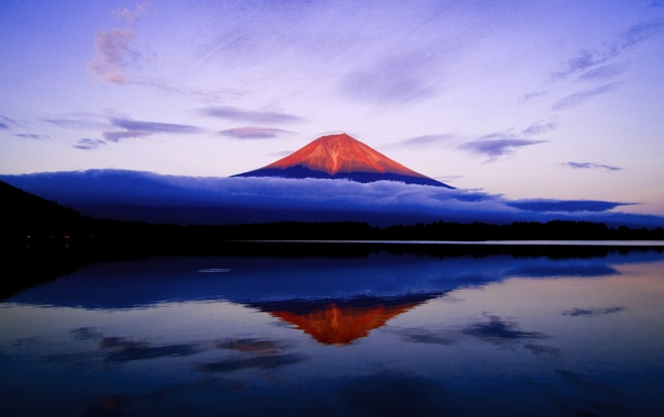 Фото обои небо, вода, отражение, гора, вечер