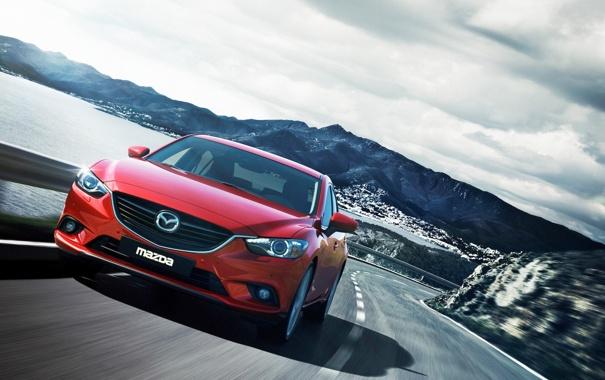 Фото обои Красный, Авто, Мазда, Седан, Mazda, Передок