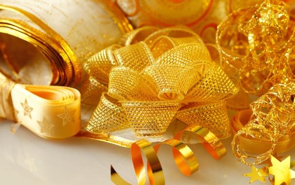 Фото обои ленты, подарки, бант, золотые, ленточки, праздники