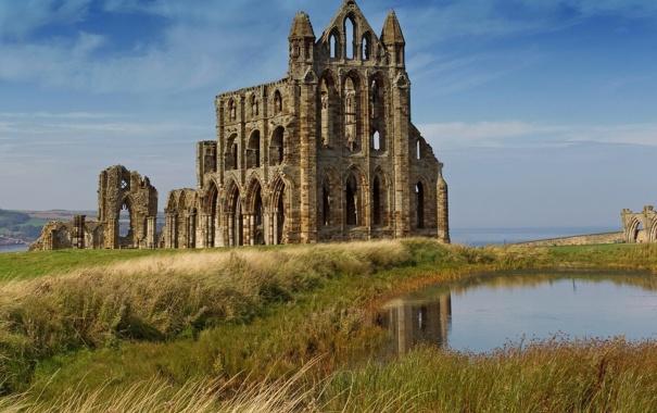 Фото обои Англия, развалины, руины, England, Северный Йоркшир, North Yorkshire, Аббатство Уитби