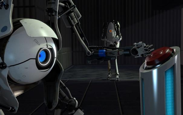 Фото обои робот, кнопка, Portal 2, нажимает