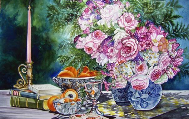 Фото обои цветы, стол, книги, свеча, букет, ваза, фрукты