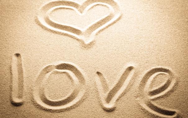 Фото обои песок, любовь, надпись, сердце, love, heart, sand