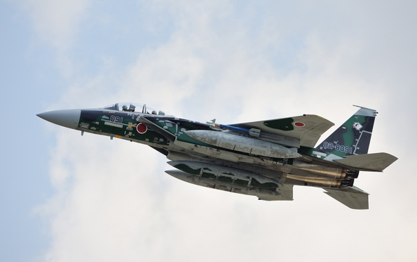 Фото обои истребитель, Mitsubishi, полёт, F-15DJ