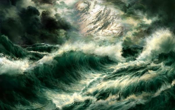 Фото обои море, волны, шторм, планета, арт