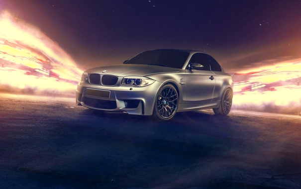 Фото обои silvery, бмв, BMW, серебристый, 1 Series, перед, front