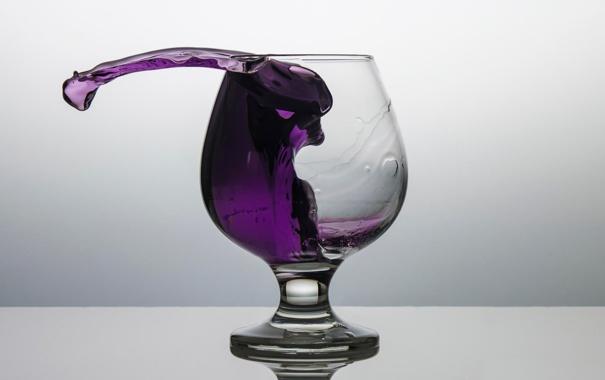 Фото обои бокал, жидкость, Purple splash