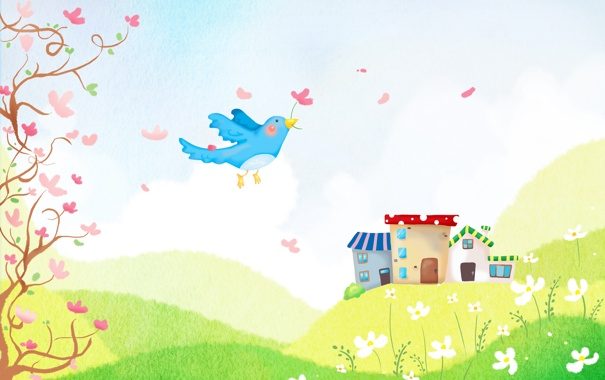 Фото обои цветок, деревья, природа, холмы, птица, дома, ромашки