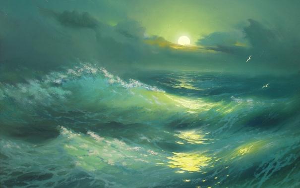 Фото обои море, пейзаж, луна, волна, чайки, красота, Ночь