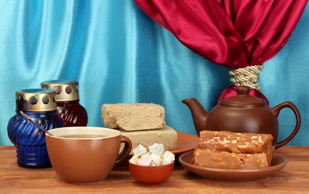 Фото обои занавеска, заварник, пастила, халва, чай, сладости