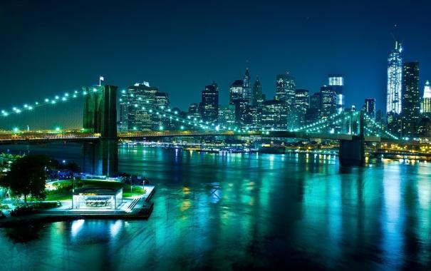 Фото обои мост, огни, река, дома, вечер, New York City, World Trade Center