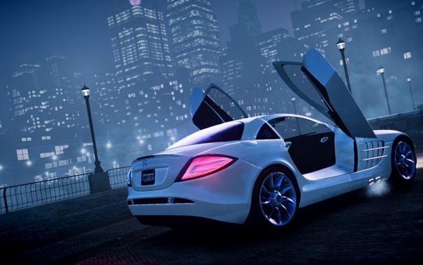 Фото обои машина, ночь, туман, GTA 4, Mersedes SLR