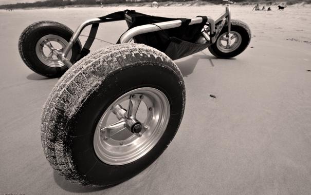 Фото обои песок, тачка, колёса, обалдеть