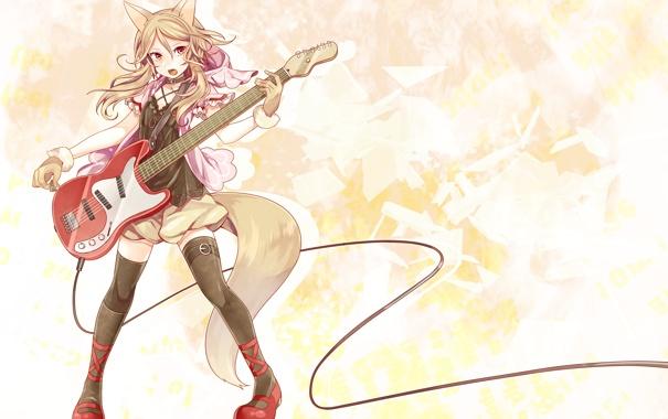 Фото обои взгляд, девушка, музыка, игра, гитара, хвост, неко