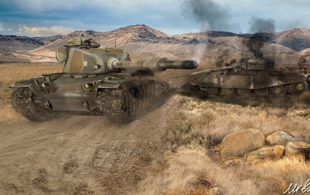 Фото обои танк, Великобритания, USA, США, танки, WoT, Мир танков