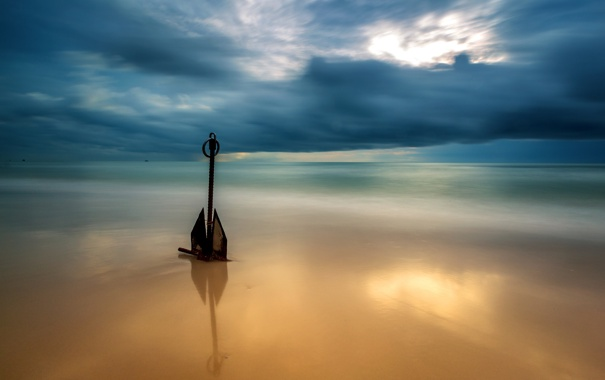 Фото обои море, небо, якорь