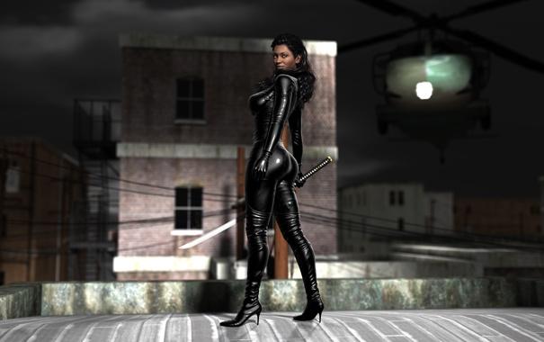 Фото обои попа, грудь, город, рендеринг, девушки, тело, меч