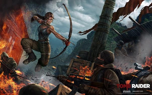 Фото обои девушка, луг, автомат, бандиты, Tomb Raider, калаш, Расхитительница гробниц
