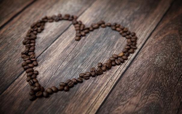 Фото обои любовь, сердце, кофе