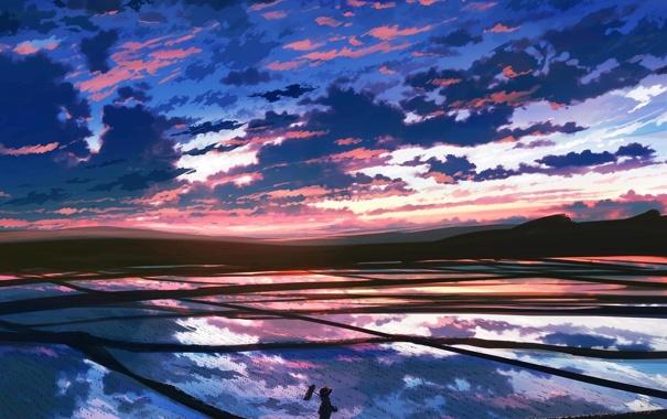 Фото обои небо, облака, рассвет, голубое, красивые, рисовое поле, Purple Clouds
