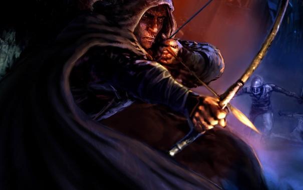 Фото обои лук, арт, капюшон, стрела, мужчина, плащ, thief