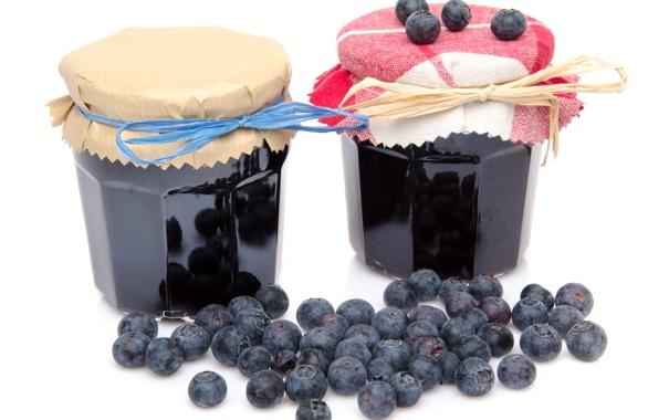Фото обои ягоды, черника, банки, варенье, banks, berries, jam