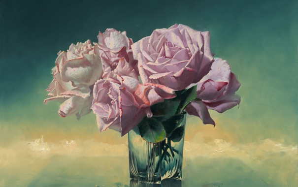 Фото обои стекло, цветы, стакан, розы, картина, ваза, натюрморт