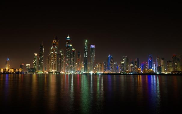 Фото обои ночь, огни, здания, Дубай, небоскрёбы