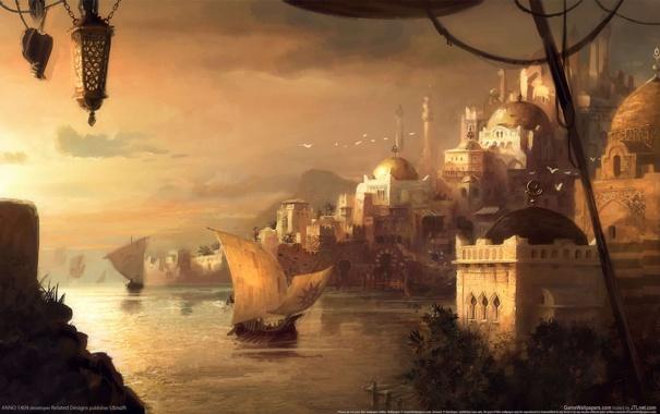 Фото обои пейзаж, город, арт, Anno 1404, мечети, драккар