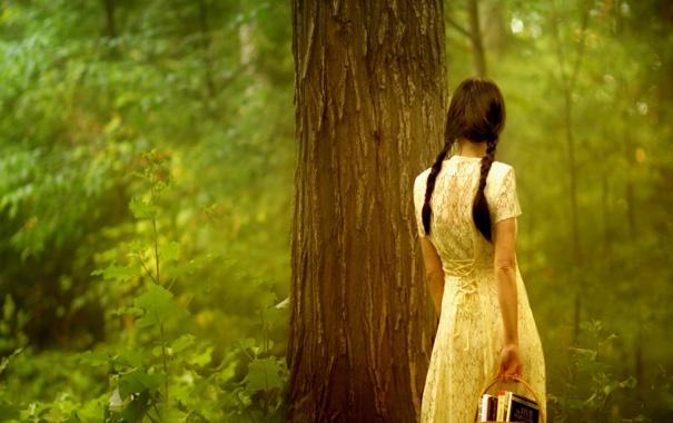 Фото обои косички. платье, стение. познание, корзина. корзинка, девушка, брюнетка, листья, обои