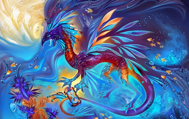 Фото обои вода, рыбки, водоросли, фантастика, дракон, арт, чрко