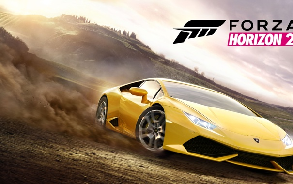 Фото обои машина, небо, деревья, жёлтый, земля, дым, Lamborghini