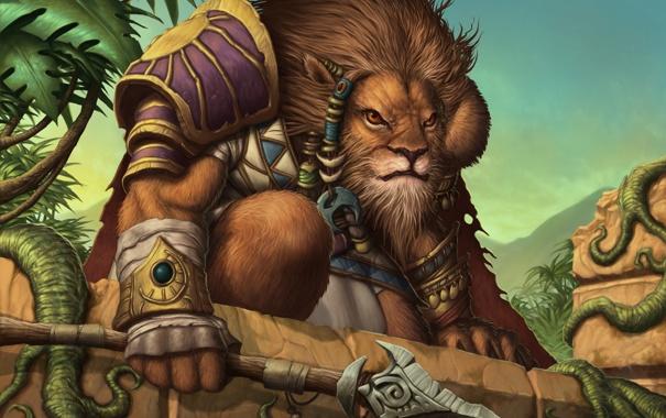 Фото обои лев, доспехи, джунгли, копье