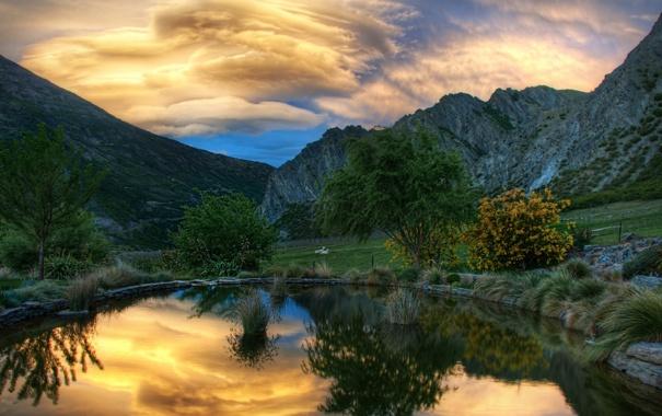 Фото обои животные, вода, деревья, горы, природа, обои, пейзажи