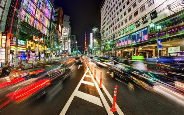 Фото обои Япония, Trey Ratcliff, Токио, night, Japan, Tokyo