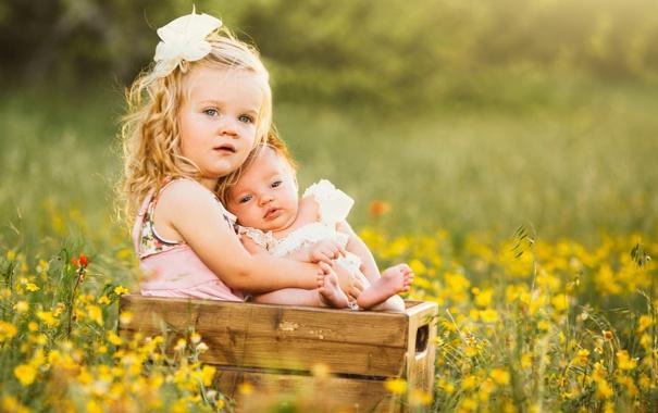 Фото обои лето, настроение, девочки, сёстры