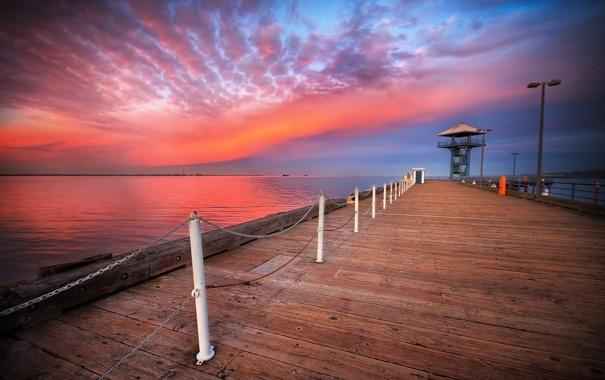 Фото обои закат, пристань, пейзаж