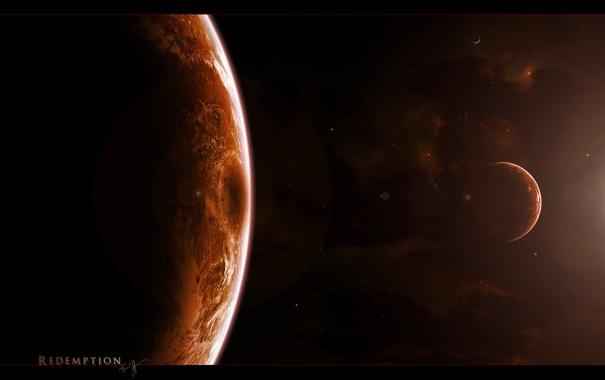 Фото обои спутники, планета, бесконечность, вселенная